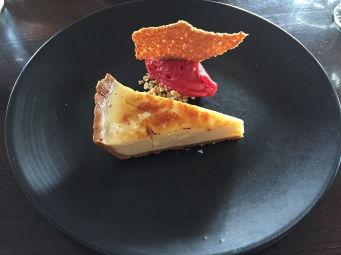 Lemon tart with raspberry sorbet and hazelnut tuille, £7.50.