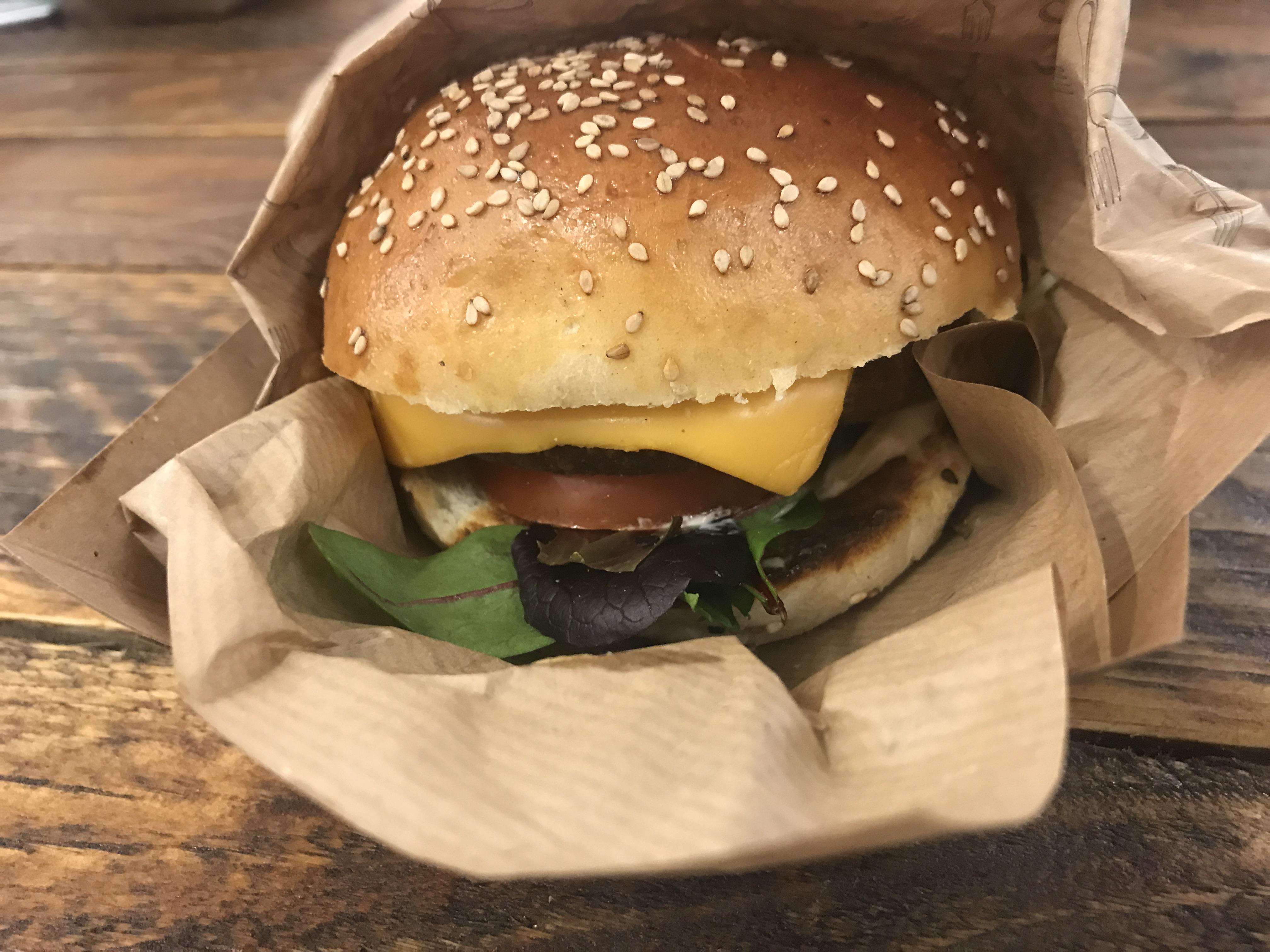 Mushroom arancini burger
