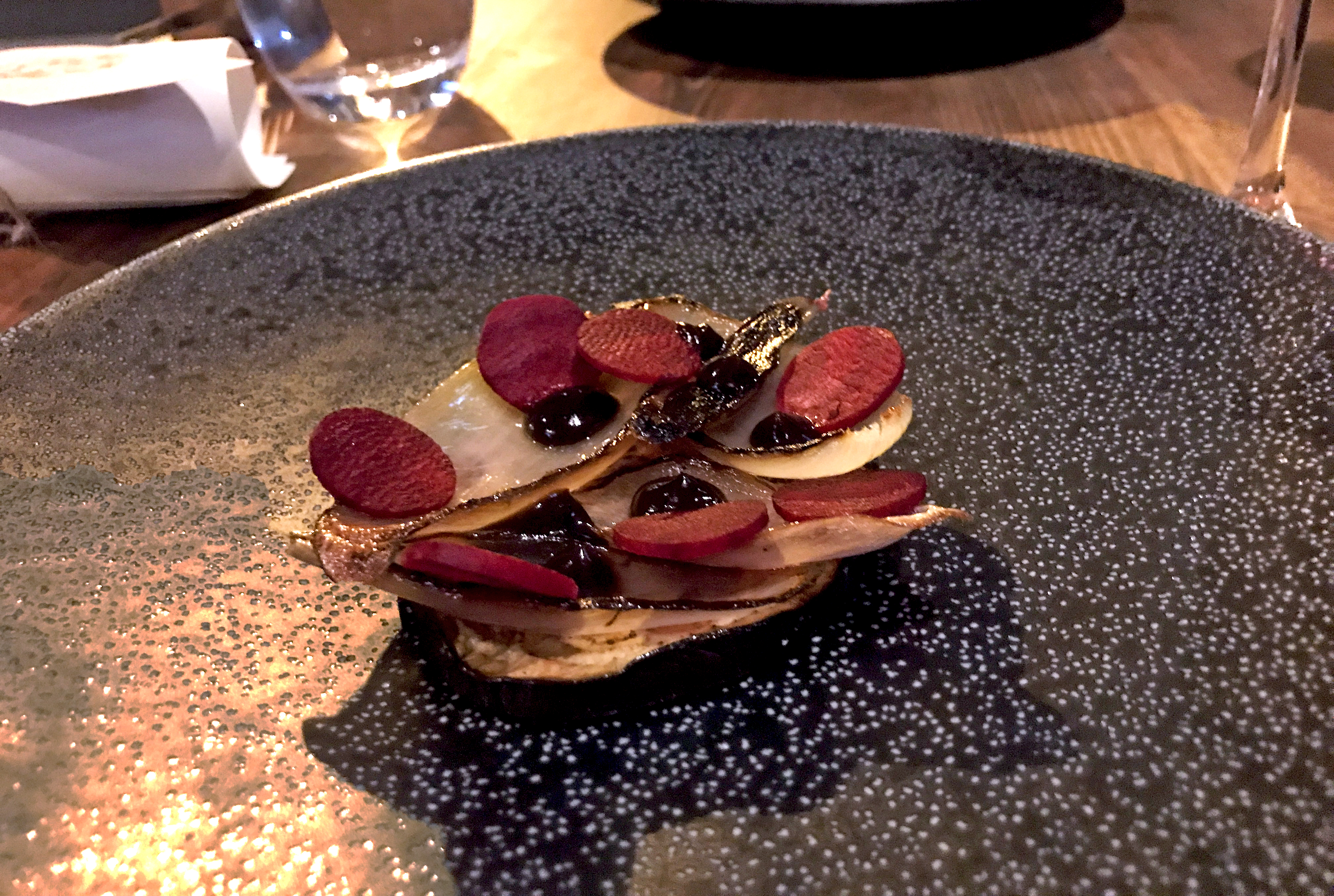 Aubergine, beetroot and shallot